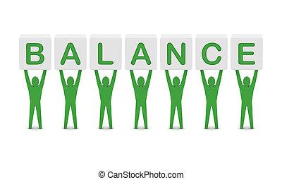 hommes, tenue, les, mot, équilibre, ., concept, 3d, illustration.