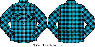 hommes, vérifié, chemises
