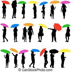 hommes, vecteur, illust, femmes, ensemble, silhouettes, umbrellas.