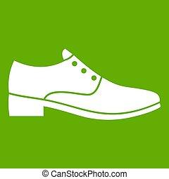 hommes, vert, chaussure, icône