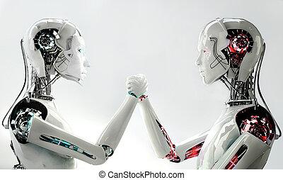 hommes, vs, robot, femmes