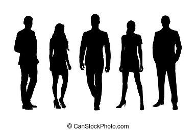 hommes, women., professionnels, travail, silhouettes, vecteur, équipe