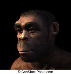 Portrait of a male Homo Erectus, a prehistoric ancestor of humans that lived around 1.8 million years ago - 3D render with digital painting.