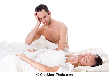 Homo relation trouble - Happy homo couple in a white bed...