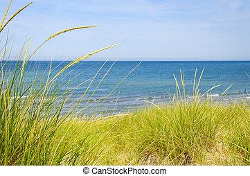 homok homokbucka, -ban, tengerpart