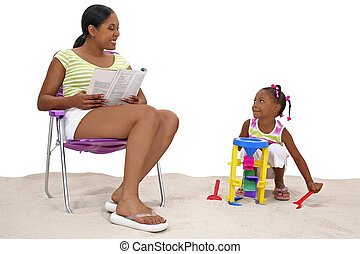 homok, lány, anya