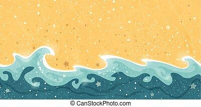 homok, seamless, lenget, víz, határ, nyár