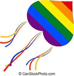 homoseksualista, kania, wesoły, flag., przelotny, ilustracja, znak, tło., wektor, biały, communities., pień