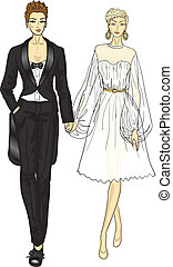 lesbian wedding  - homosexual couple marry, lesbian wedding