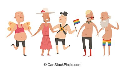 Homosexual gay and lesbian people marriage man, woman couples family and colors free love ceremony community characters tolerance symbol vector illustration.