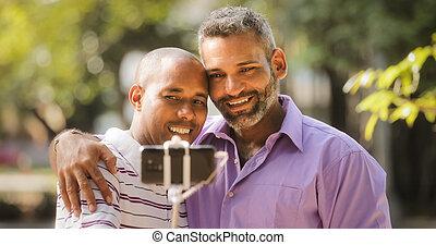 Homosexual Gay Couple Men Taking Selfie With Smartphone