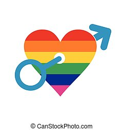 Homosexual love male flat icon