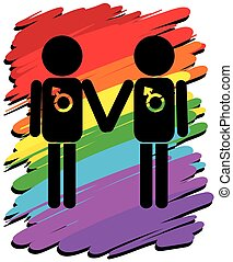Homosexual love with rainbow background