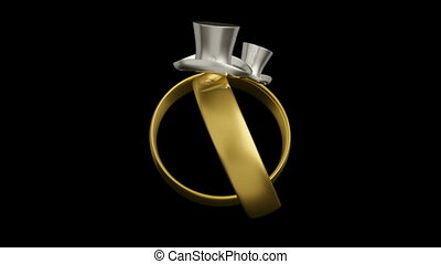 Homosexual wedding rings animation with two 19th century top...