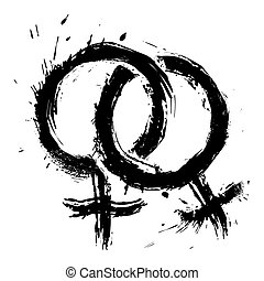 Homosexual womans love - Lesbians couple symbol created in...