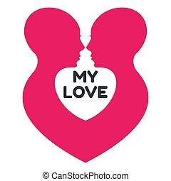 homosexueel, liefde, paar, profile., minimalistic, logo, vrouwen
