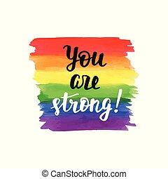 homossexual, cartaz, inspirational, tu, orgulho, strong.