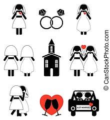 homossexual, mulher, casório, 2, ícones, jogo