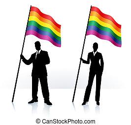 homossexual, negócio, bandeira ondulando, silhuetas, orgulho