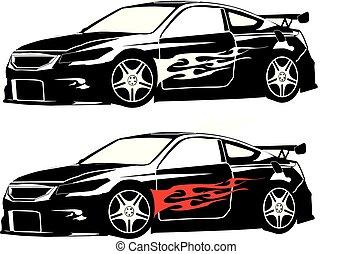 Honda Accord Coupe Custom Flames Silhouette