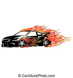 Honda Accord Coupe Flame Fast Vector