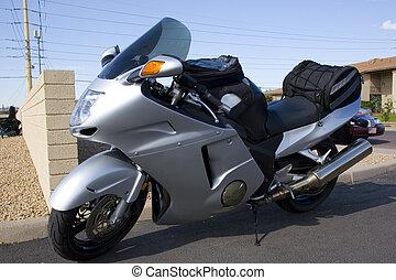 honda, bil, silver, motorcykel, visa