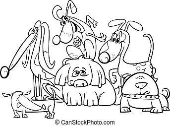 honden, kleuren, groep, spotprent, pagina