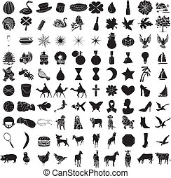 honderd, 2, set, pictogram