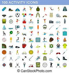 honderd, activiteit, stijl, set, iconen, plat