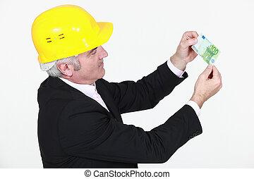 honderd, architect, bankbiljet, eurobiljet