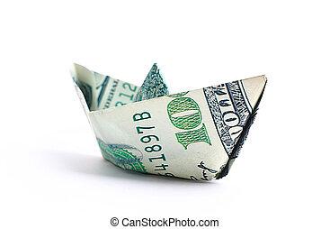 honderd dollars, bankbiljet, ineengevouwen , als, een, scheepje,