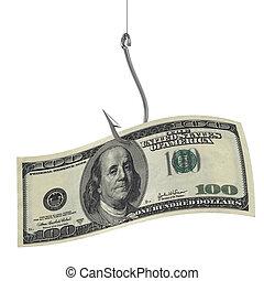 honderd dollars, op, vissende haak