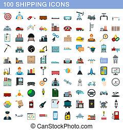 honderd, expeditie, stijl, set, iconen, plat