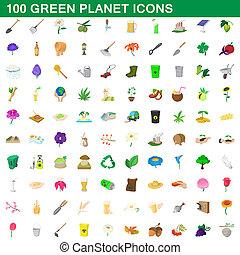 honderd, groene planeet, iconen, set, spotprent, stijl