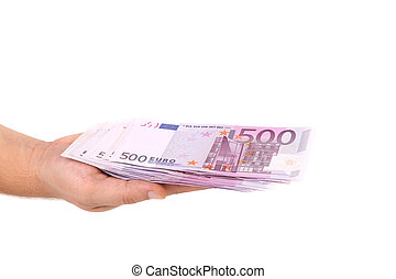 honderd, hand., rekening, vijf euro