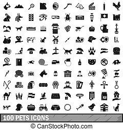 honderd, huisdieren, iconen, set, eenvoudig, stijl