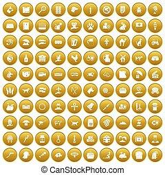 honderd, huisdieren, iconen, set, goud