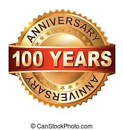 honderd, jaren, jubileum, gouden, etiket
