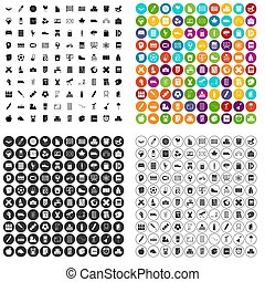honderd, jongere school, iconen, set, variant