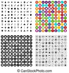 honderd, klaslokaal, iconen, set, variant
