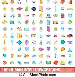 honderd, menselijk, intelligentie, iconen, set, spotprent, stijl