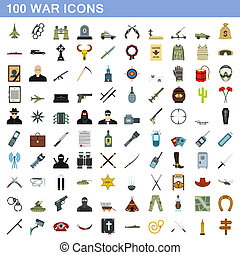 honderd, oorlog, stijl, set, iconen, plat