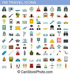 honderd, reizen, stijl, set, iconen, plat