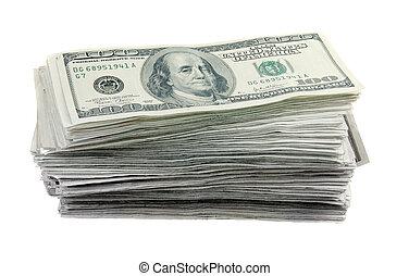 honderd, rekeningen, dollar, stapel