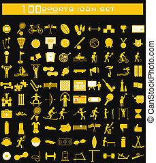 honderd, schoonmaken, sporten, pictogram, set