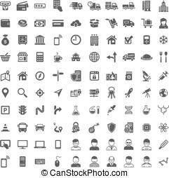 honderd, set., universeel, pictogram, iconen