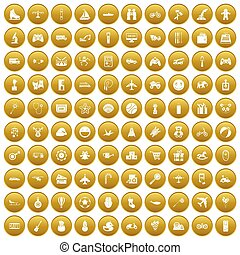 honderd, speelgoed, voor, geitjes, iconen, set, goud