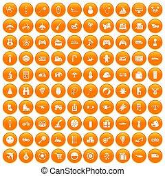 honderd, speelgoed, voor, geitjes, iconen, set, sinaasappel