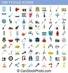 honderd, stijl, gereedschap, set, iconen, plat