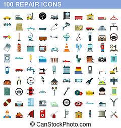 honderd, stijl, herstelling, set, iconen, plat